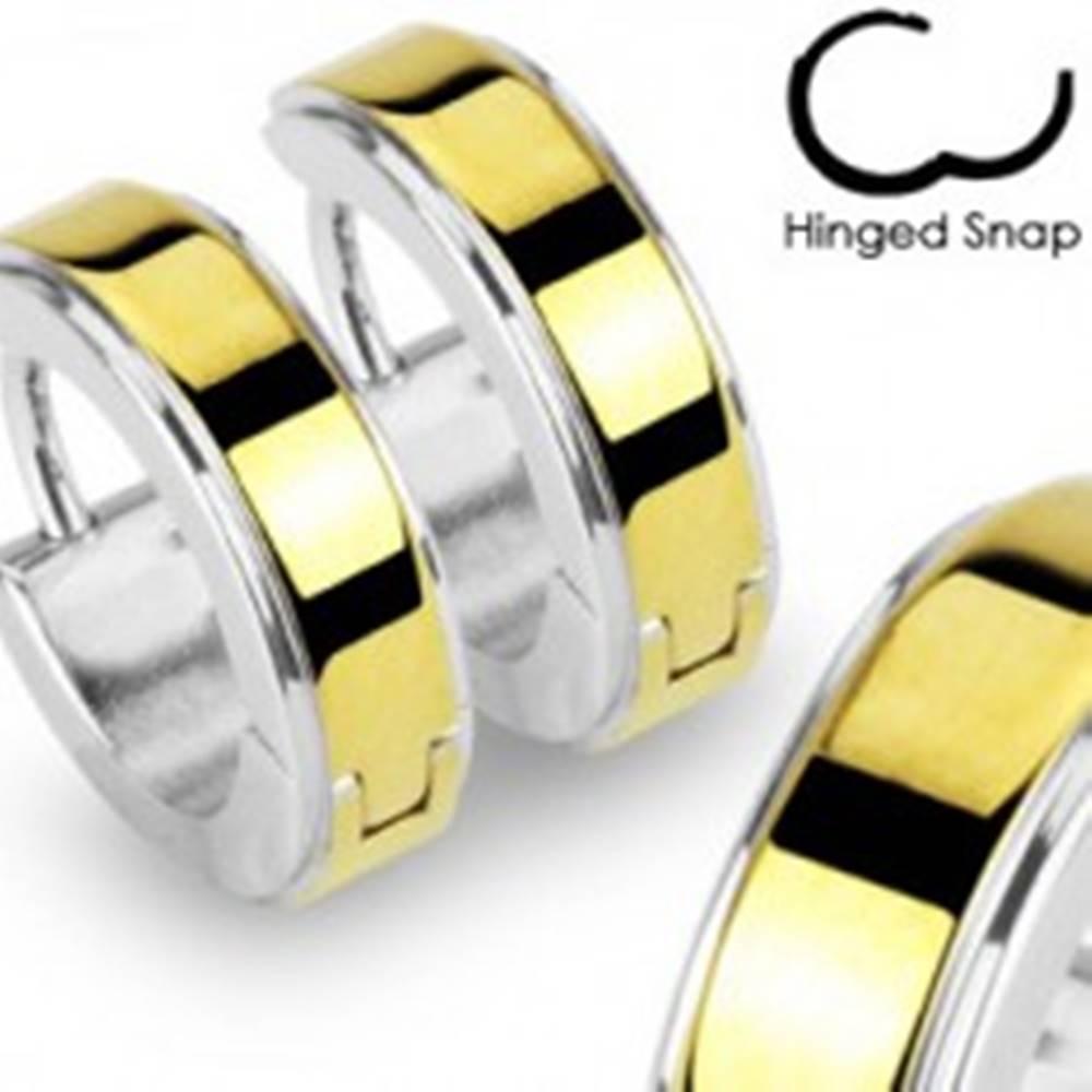 Šperky eshop Okrúhle oceľové náušnice lesklej striebornej farby, hladký pás zlatej farby