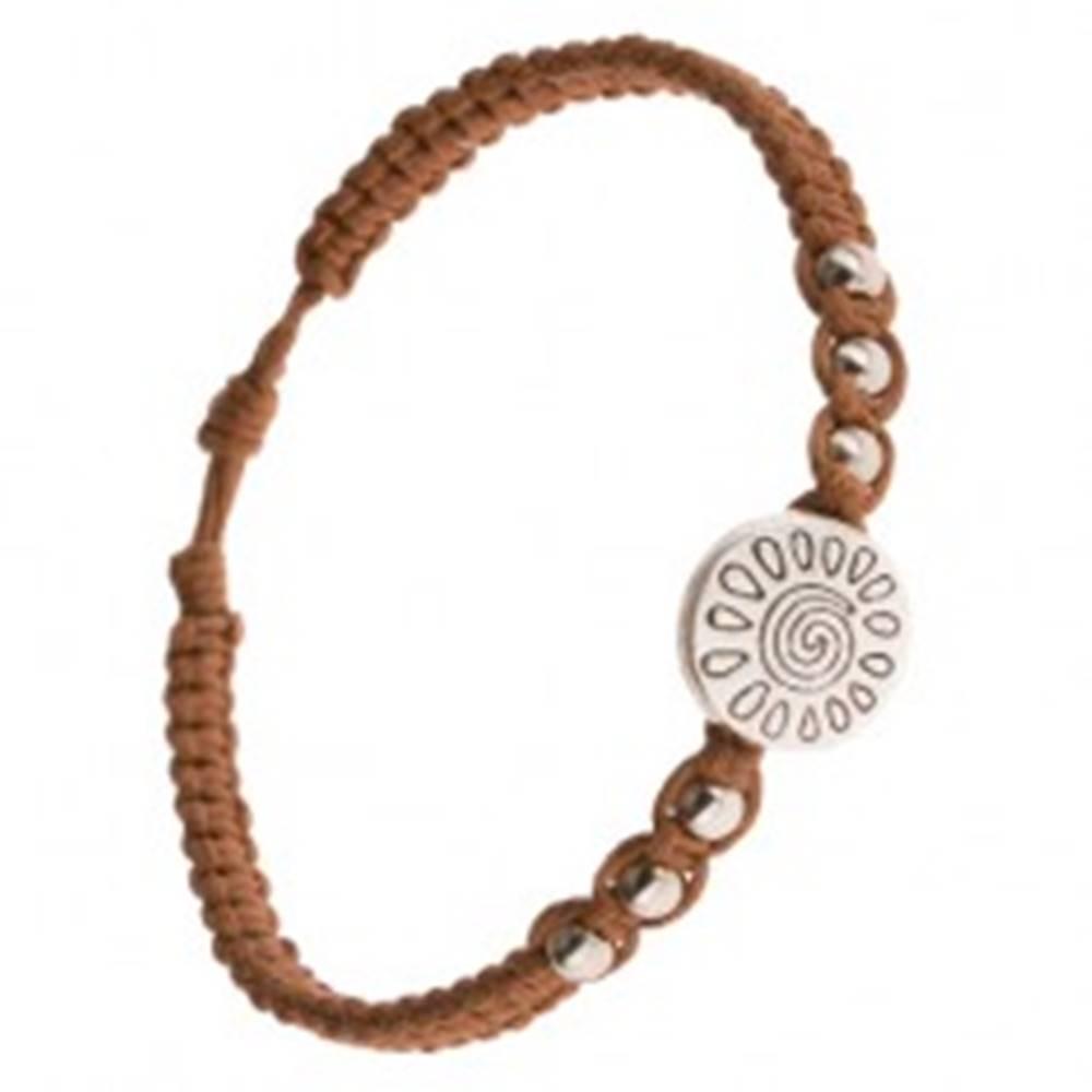 Šperky eshop Pletený náramok z hnedých šnúrok, známka so špirálou a slzičkami