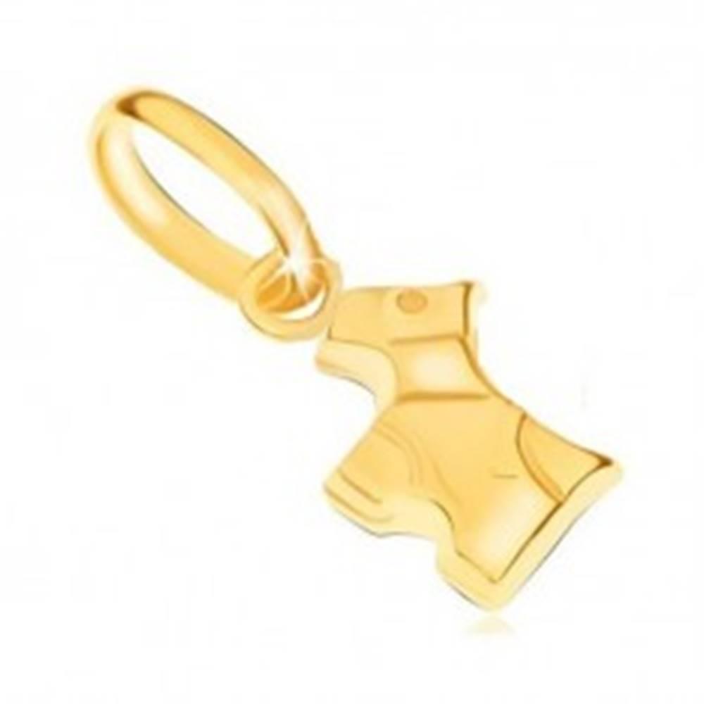 Šperky eshop Prívesok v žltom 9K zlate - ligotavý trojrozmerný psík