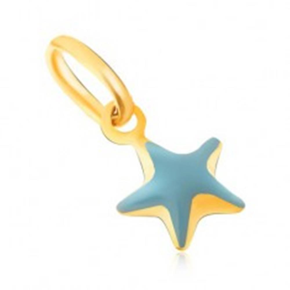 Šperky eshop Prívesok zo žltého 9K zlata - trblietavá vypuklá modrá hviezda, glazúra