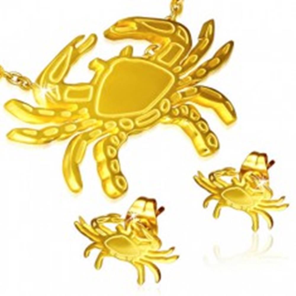 Šperky eshop Set z ocele - puzetové náušnice a prívesok, krab zlatej farby