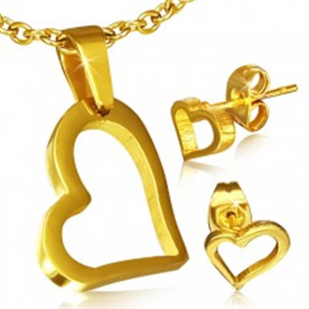 Šperky eshop Set zlatej farby z chirurgickej ocele - náušnice a prívesok, nepravidelný obrys srdca