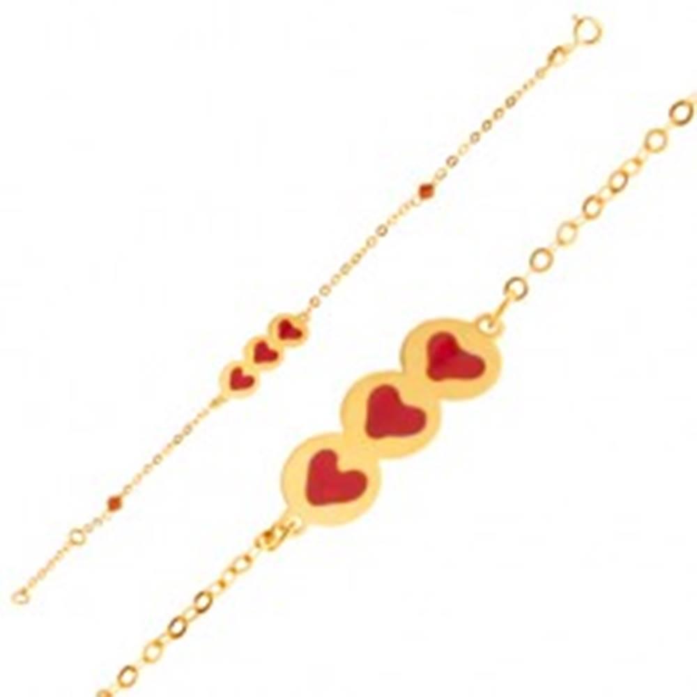 Šperky eshop Zlatý náramok 375 - trblietavá retiazka, známka so srdiečkami, korálky, email