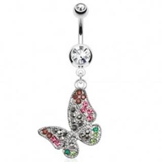 Oceľový piercing do pupka, číry kamienok, farebný zirkónový motýľ