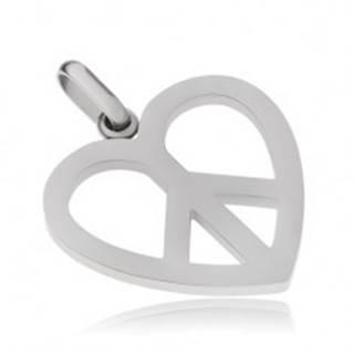 Oceľový prívesok, symbol Peace v kontúre srdca
