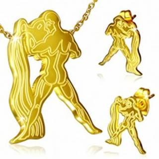 Oceľový set, puzetové náušnice a prívesok zlatej farby, Vodnár
