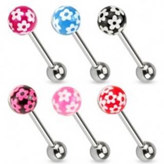 Piercing do jazyka z chirurgickej ocele, farebná gulička s kvetmi - Farba piercing: Červená