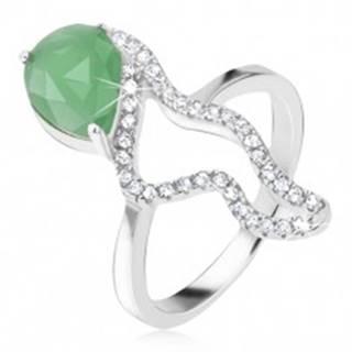 Prsteň zo striebra 925 - zelený slzičkový kameň, morský koník - Veľkosť: 48 mm