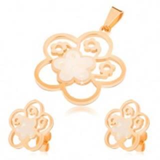 Set z ocele zlatej farby, náušnice a prívesok, vyrezávaný kvet s perleťou