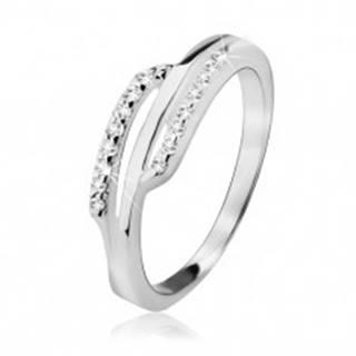 Strieborný prsteň 925, dva zirkónové prúžky, hladký pás uprostred - Veľkosť: 49 mm