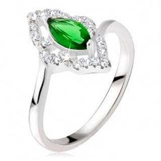 Strieborný prsteň 925 - elipsovitý kamienok zelenej farby, zirkónová kontúra - Veľkosť: 48 mm