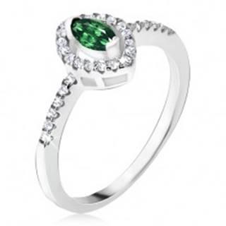 Strieborný prsteň 925 - elipsovitý zelený kamienok, zirkónová kontúra - Veľkosť: 48 mm