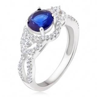 Strieborný prsteň 925, tmavomodrý kameň, oblé zirkónové línie - Veľkosť: 50 mm