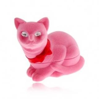 Zamatová krabička na náušnice, ružová mačka s mašľou