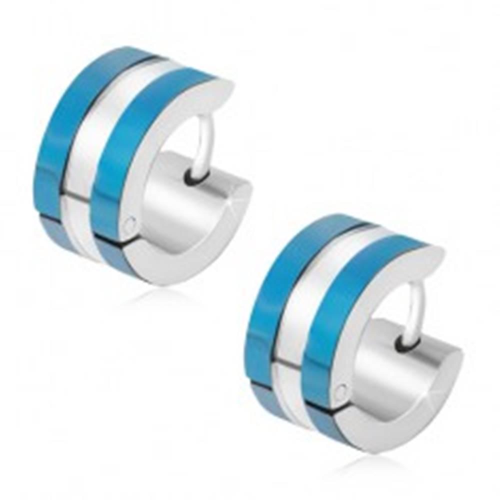 Šperky eshop Náušnice z chirurgickej ocele, pásy modrej a striebornej farby