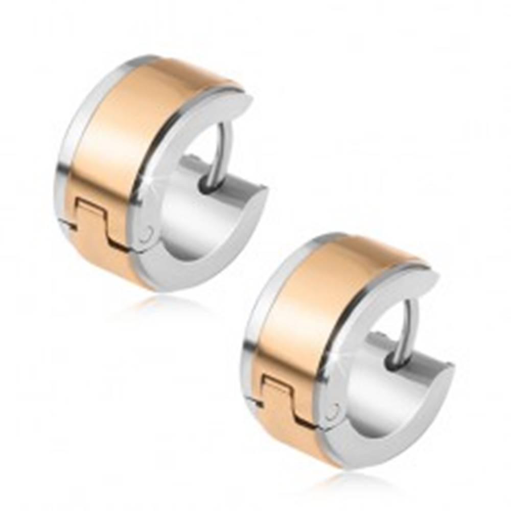 Šperky eshop Oceľové náušnice, kruhy striebornej farby s pásom zlatej farby