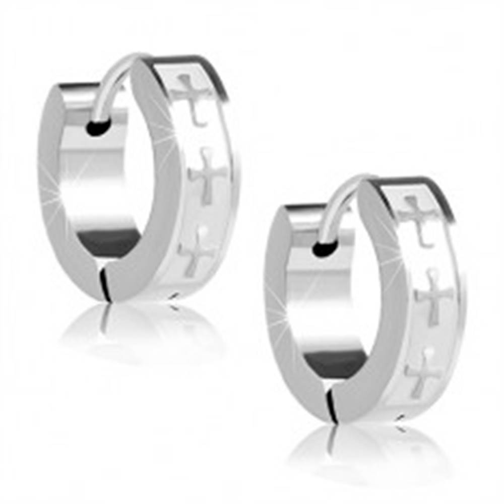 Šperky eshop Oceľové náušnice - krúžky striebornej farby, lesklé kríže