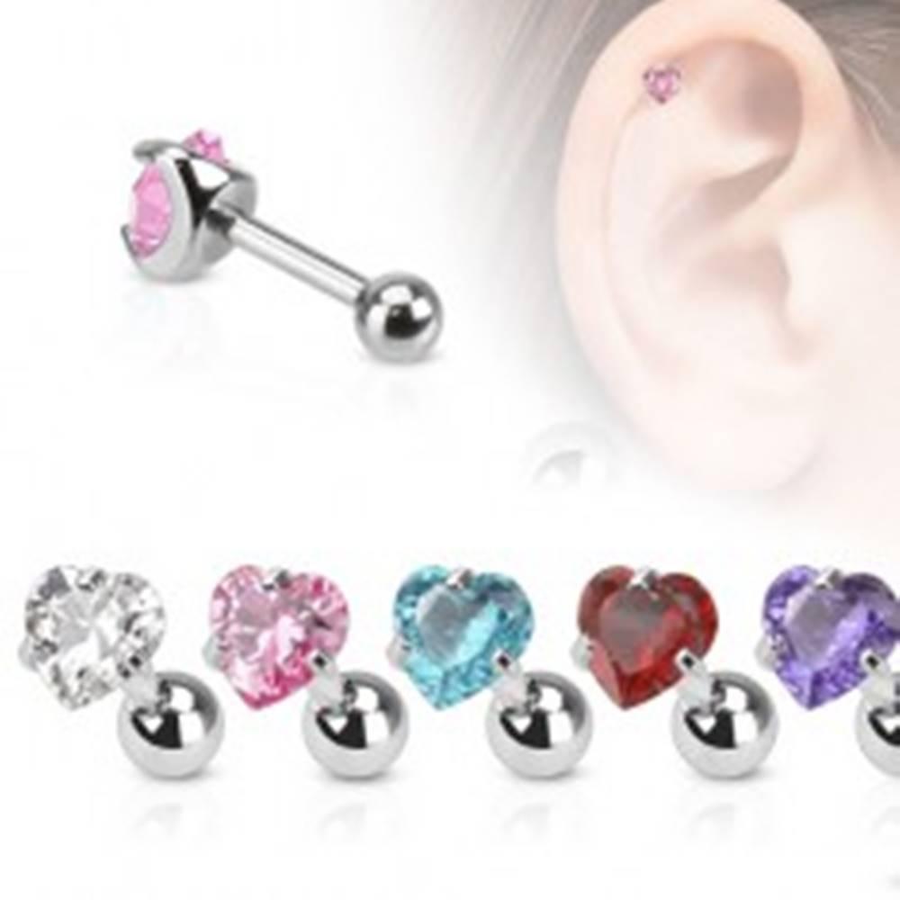 Šperky eshop Oceľový piercing do tragusu, farebný srdiečkový kamienok - Farba zirkónu: Aqua modrá - Q