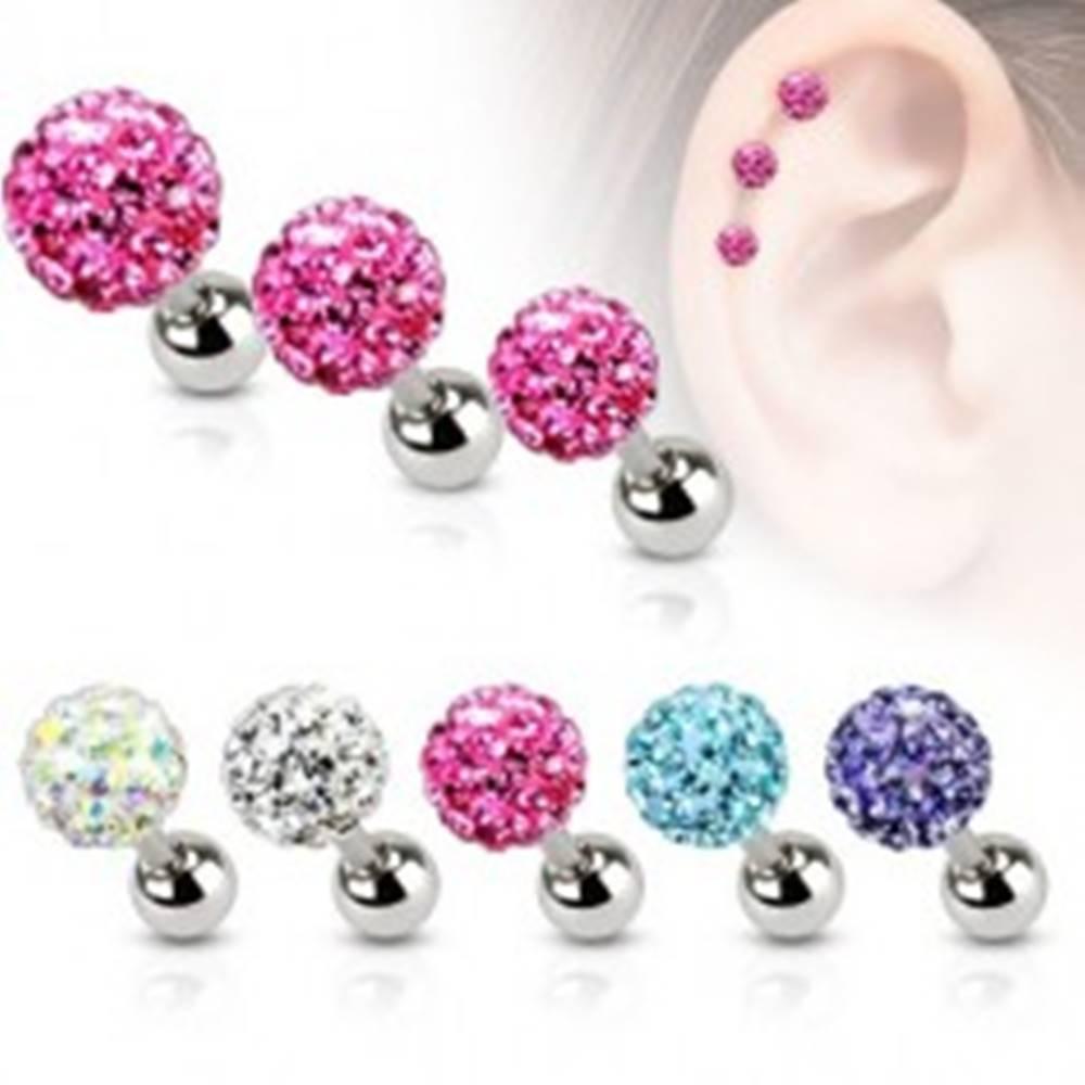 Šperky eshop Oceľový piercing do ucha, farebná zirkónová gulička, 4 mm - Farba zirkónu: Aqua modrá - Q