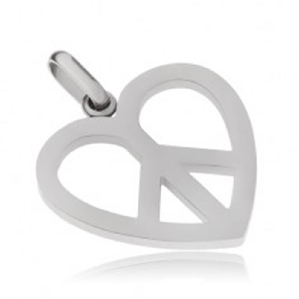 Šperky eshop Oceľový prívesok, symbol Peace v kontúre srdca