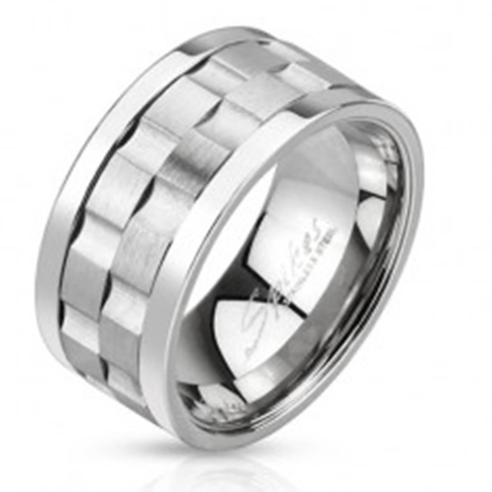 Šperky eshop Oceľový prsteň - dve matné točiace sa obruče so žliabkami - Veľkosť: 60 mm