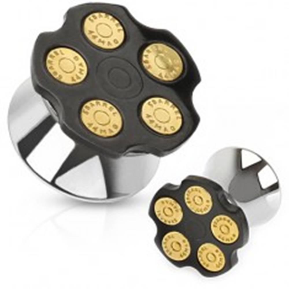 Šperky eshop Oceľový tunel plug do ucha, okrúhly zásobník s nábojmi - Hrúbka: 10 mm