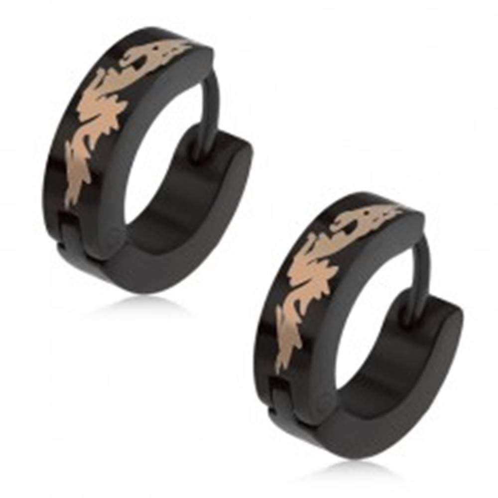 Šperky eshop Okrúhle oceľové náušnice čiernej farby, čínsky drak