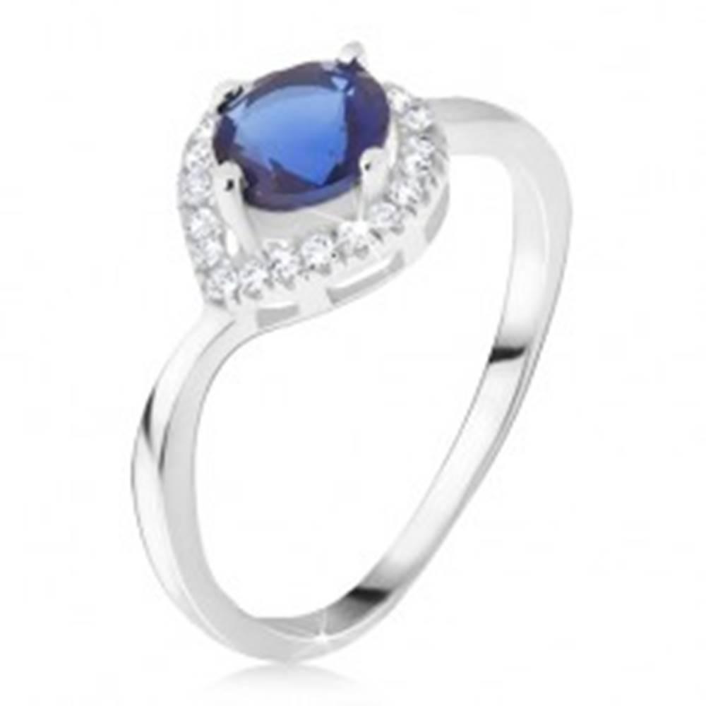 Šperky eshop Prsteň - striebro 925, tmavomodrý kameň, zirkónová kvapka - Veľkosť: 50 mm