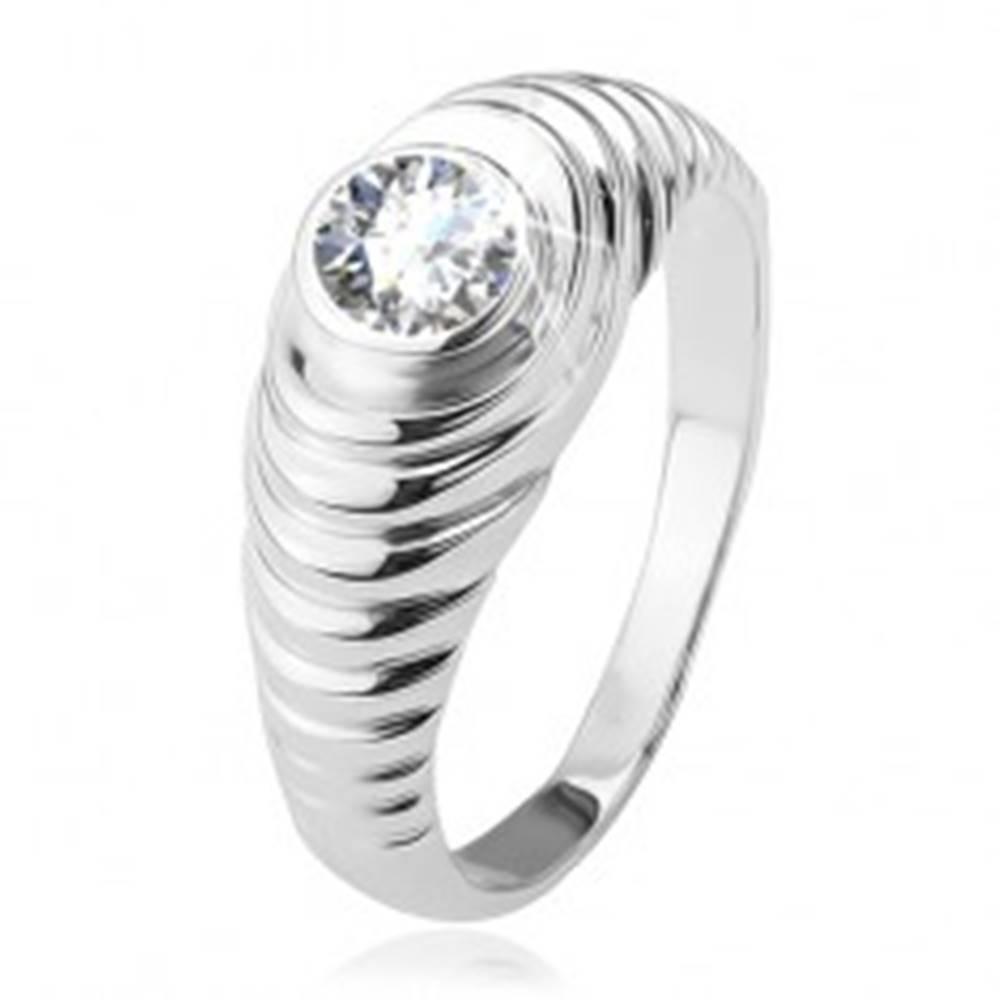 Šperky eshop Prsteň, stupienkovité ramená, číry zirkón, zo striebra 925 - Veľkosť: 48 mm
