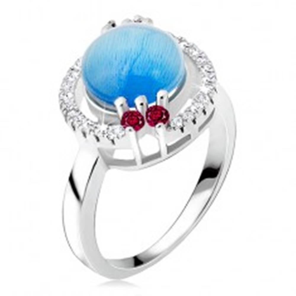 Šperky eshop Prsteň zo striebra 925 - zirkónová obruč, akvamarínový kamienok - Veľkosť: 48 mm