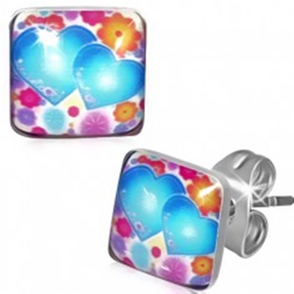 Šperky eshop Štvorcové náušnice z ocele, farebné kvety a srdiečka