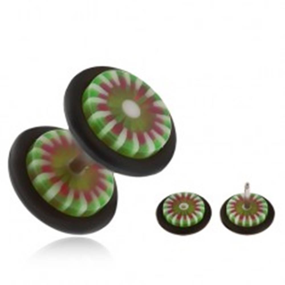 Šperky eshop Akrylový fake plug do ucha, kvet so zelenými a bielymi lupeňmi
