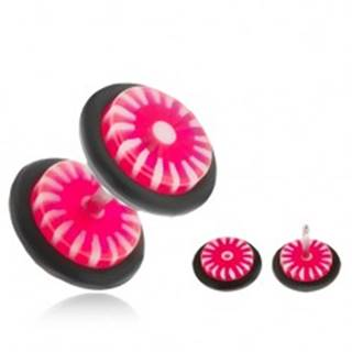 Fake plug do ucha - kolieska z akrylu, ružovo-biele slnko