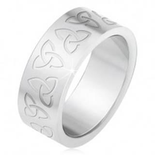Oceľový prsteň s gravírovanými keltskými symbolmi, Triquetra - Veľkosť: 55 mm