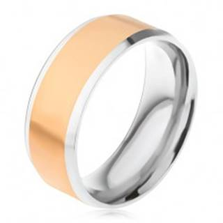 Oceľový prsteň, stredový pás zlatej farby, šikmé okraje striebornej farby - Veľkosť: 56 mm