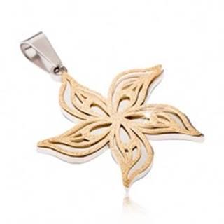 Pieskovaný prívesok z ocele strieborno-zlatej farby, zvlnený kvet