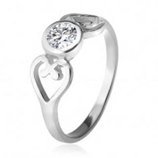 Strieborný prsteň, obrysy sŕdc, číry okrúhly zirkón v objímke, striebro 925 - Veľkosť: 49 mm