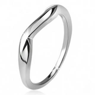Zvlnený prsteň, hladké ramená, vlna, striebro 925 - Veľkosť: 49 mm
