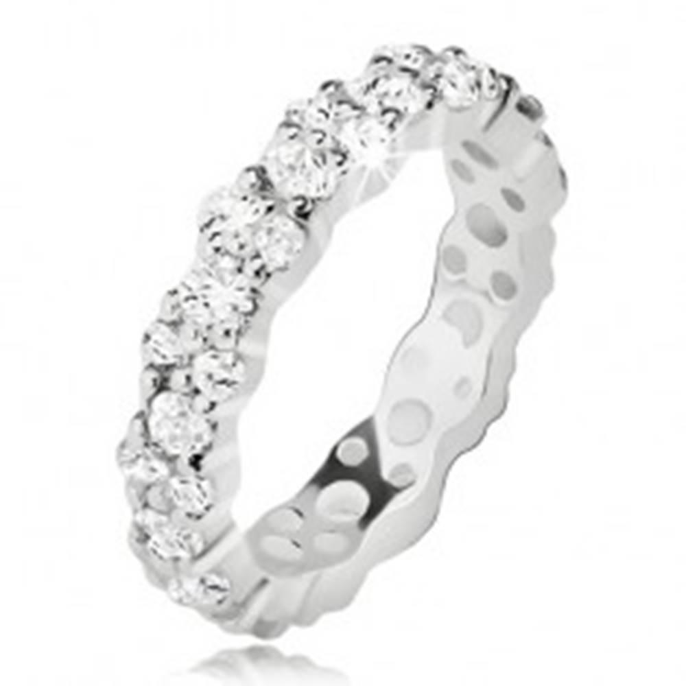 Šperky eshop Číra zirkónová obrúčka zo striebra 925, zvlnené okraje - Veľkosť: 49 mm