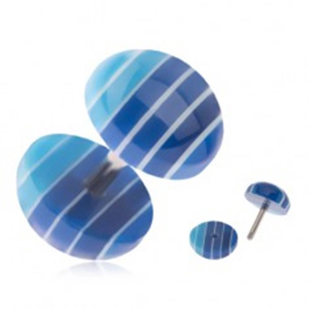 Šperky eshop Fake plug do ucha, akrylové kolieska, tmavo a svetlomodré pruhy