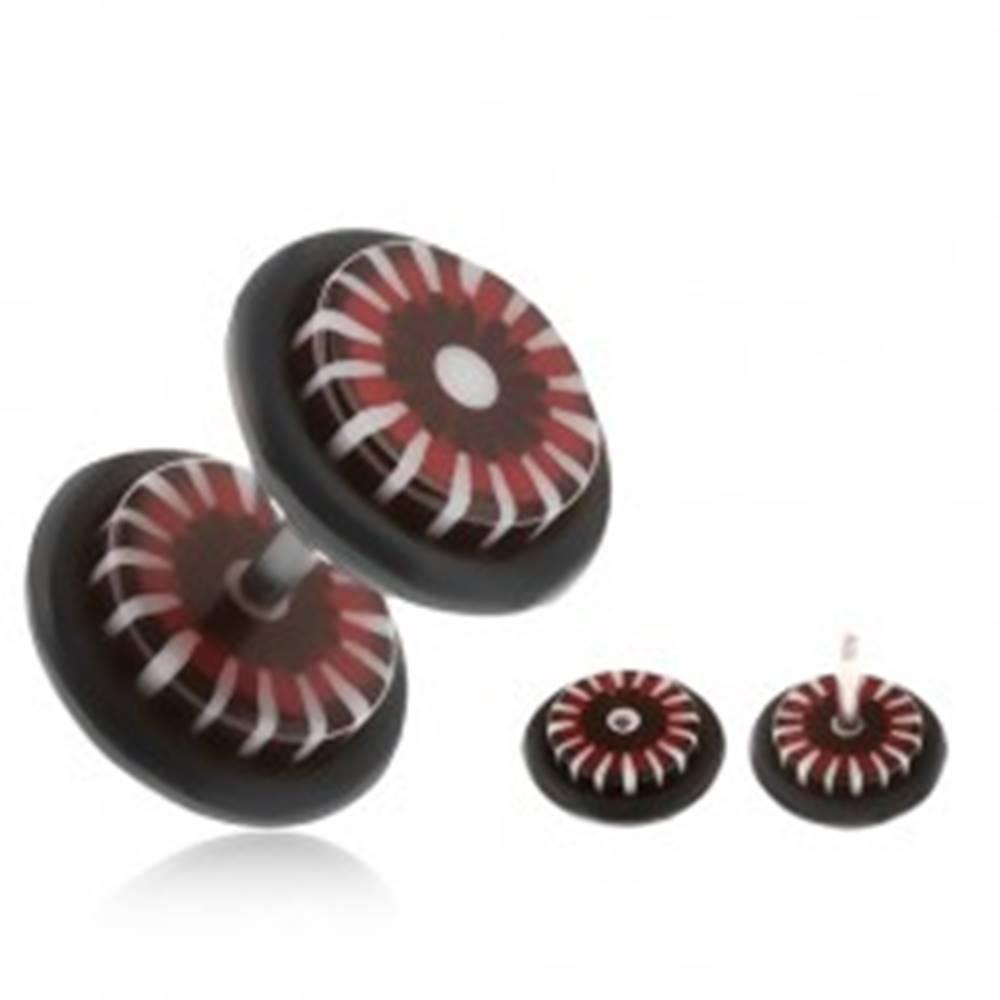 Šperky eshop Fake plug do ucha, kolieska z akrylu, červeno-čierny kvet, biele lúče