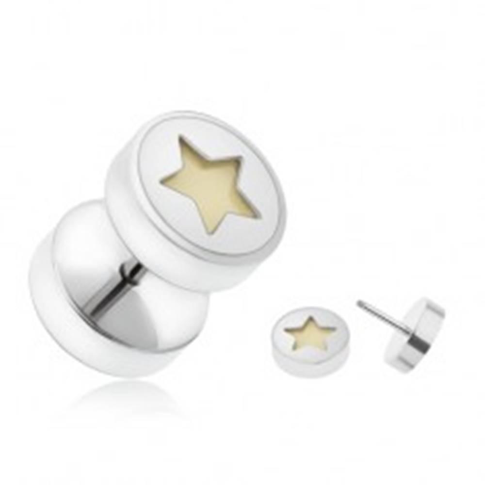 Šperky eshop Falošný piercing do ucha z ocele, päťcípa hviezda žiariaca v tme