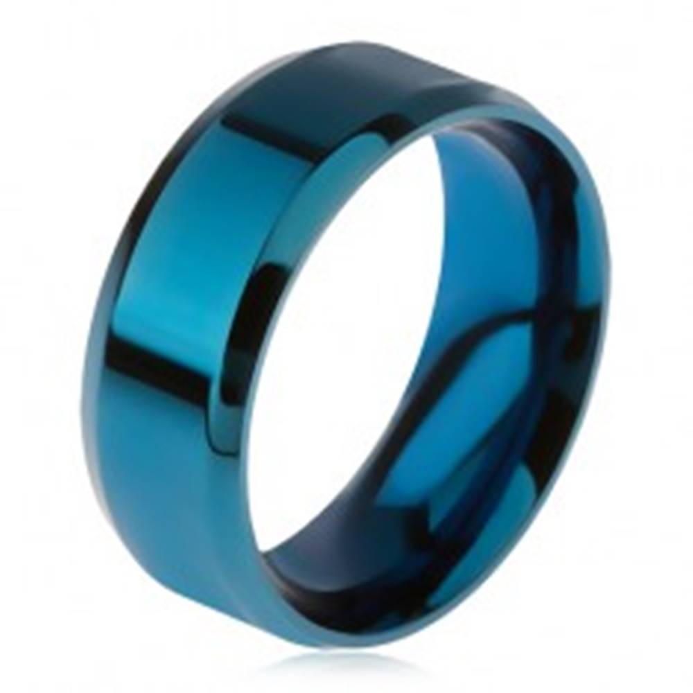 Šperky eshop Lesklý oceľový prsteň modrej farby, skosené okraje - Veľkosť: 56 mm