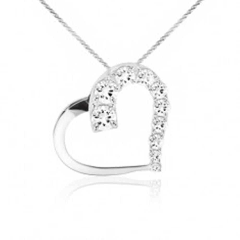 Šperky eshop Ligotavý náhrdelník, retiazka, kontúra srdca, číre kamienky, striebro 925