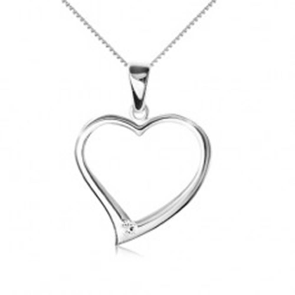 Šperky eshop Náhrdelník striebro 925 - retiazka, obrys asymetrického srdca, zirkón
