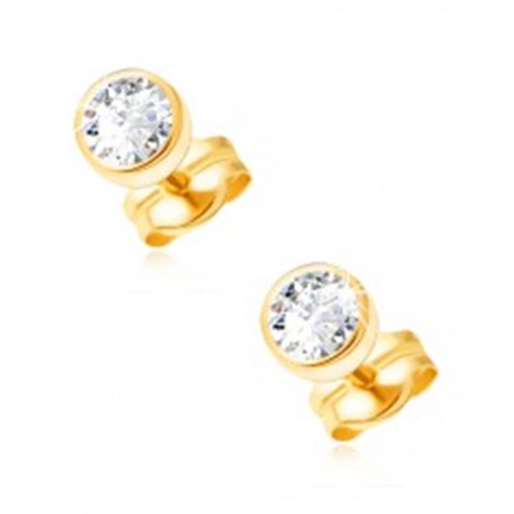 Šperky eshop Náušnice v žltom 14K zlate - okrúhla objímka, číry ligotavý zirkón, 3 mm