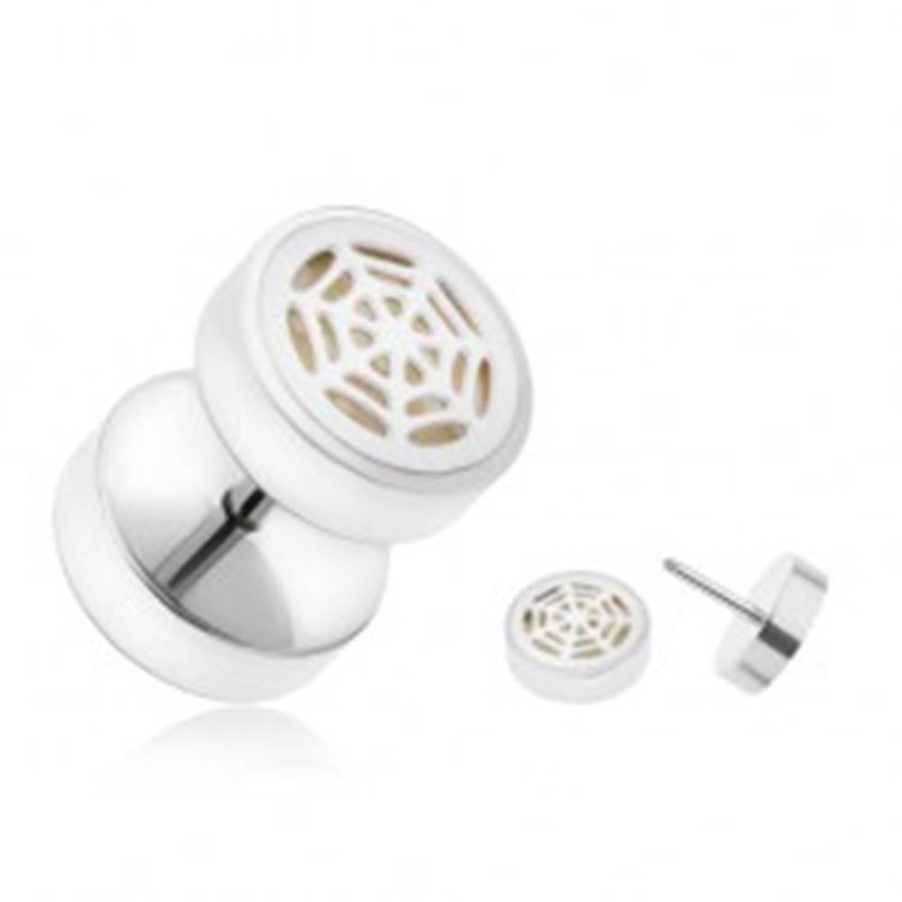Šperky eshop Oceľový fake plug do ucha svietiaci v tme, pavučina striebornej farby