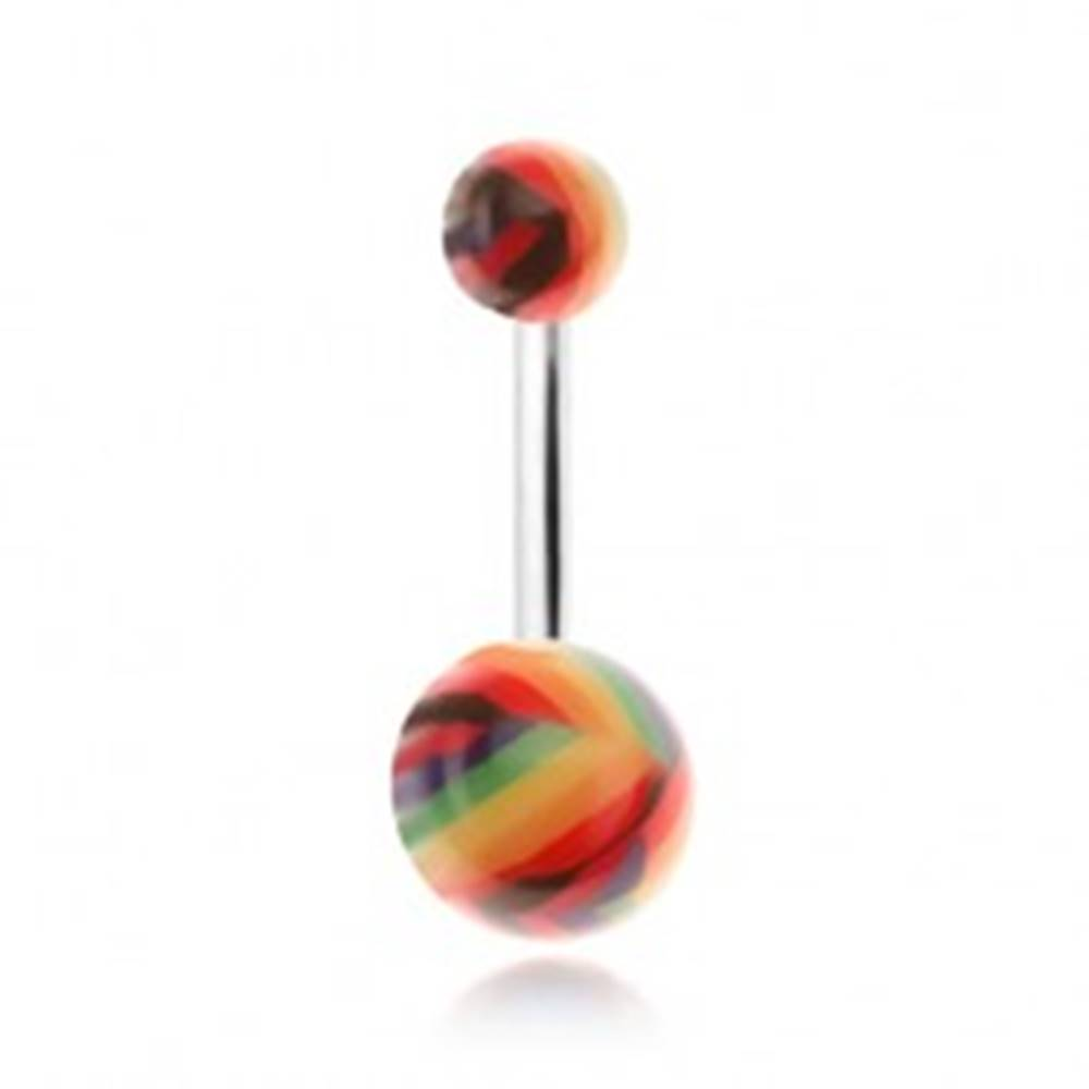 Šperky eshop Piercing do brucha, lesklé guličky s farebnými pásikmi