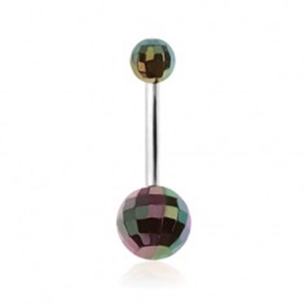 Šperky eshop Piercing do pupka, zelené akrylové disko gule s dúhovým odleskom