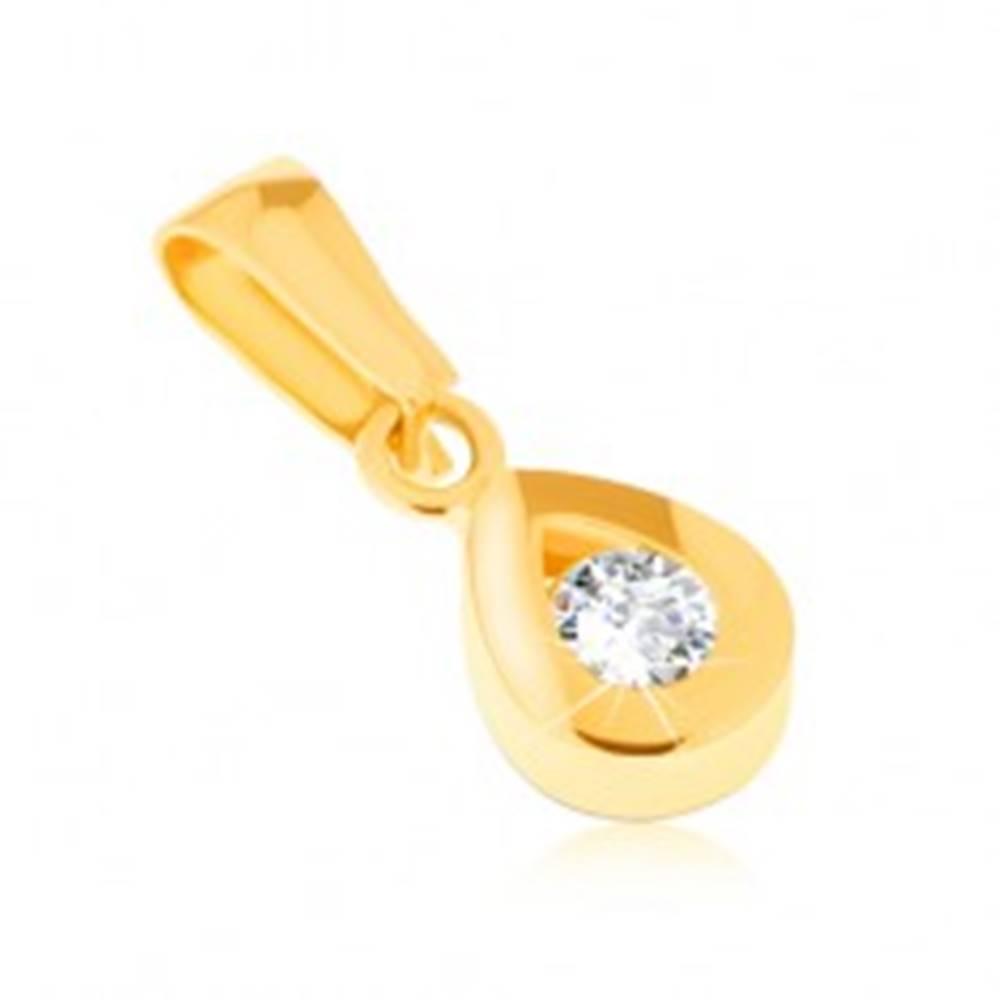 Šperky eshop Prívesok zo žltého 14K zlata - ligotavá kontúra slzy, okrúhly číry kamienok